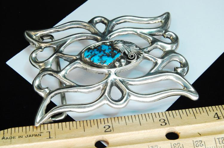 Lot 97: 52g Sterling Turquoise Zuni Signed AJW Buckle