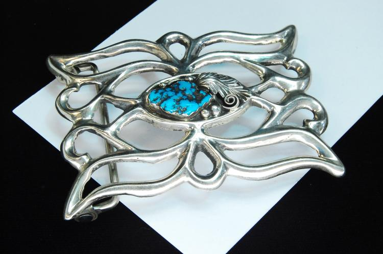 52g Sterling Turquoise Zuni Signed AJW Buckle