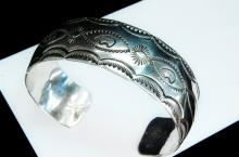 Lot 99: 26g Sterling Navajo Stamped Cuff Bracelet