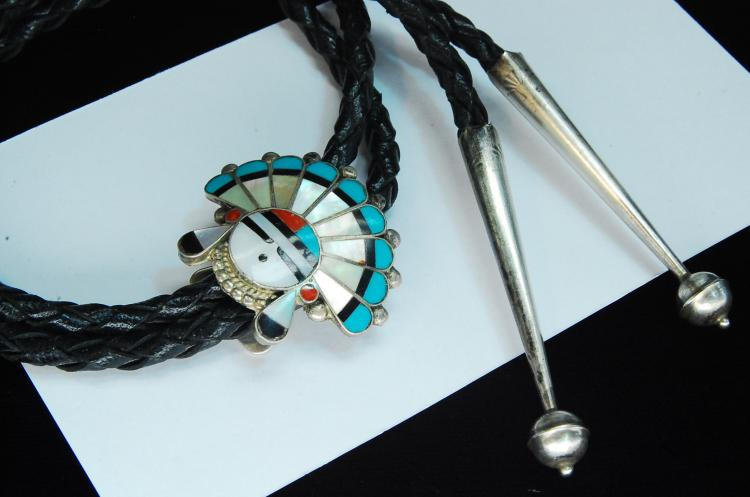 Vintage Sterling Zuni Inlaid Sun Face Bolo Tie