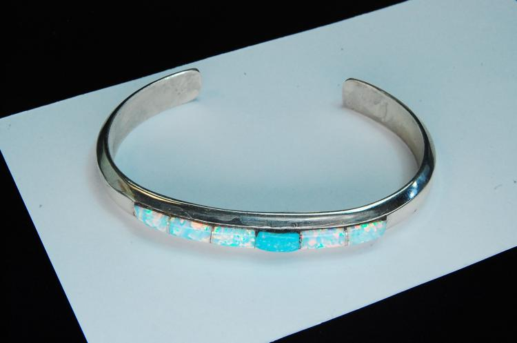 20g Sterling Silver Opal Inlaid Ladies Bracelet