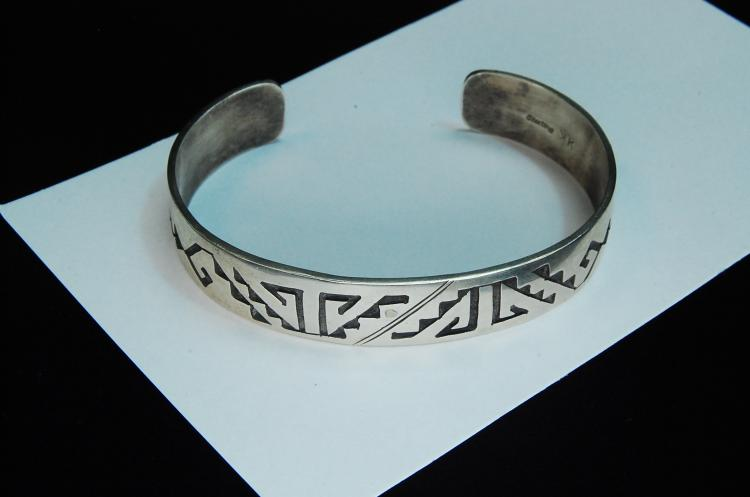 20g Sterling Silver Signed KK  Hopi Cuff Bracelet