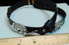 Lot 106: Leather Belt W/ Sterling Stamped Navajo Bears