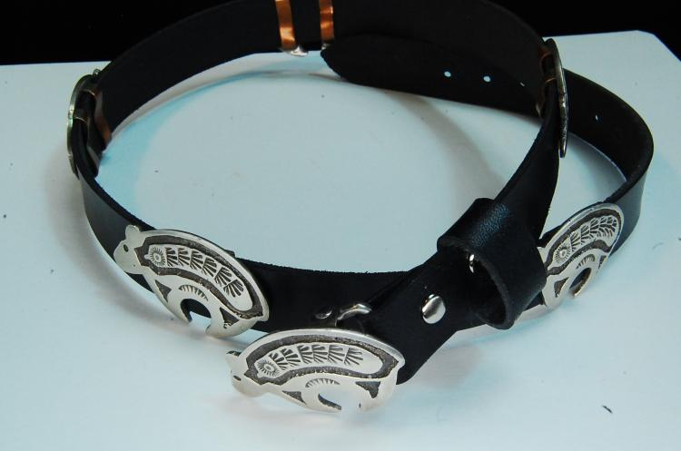 Leather Belt W/ Sterling Stamped Navajo Bears