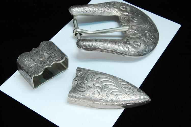 Vintage Wage Sterling Overlay Buckle & Tip Set