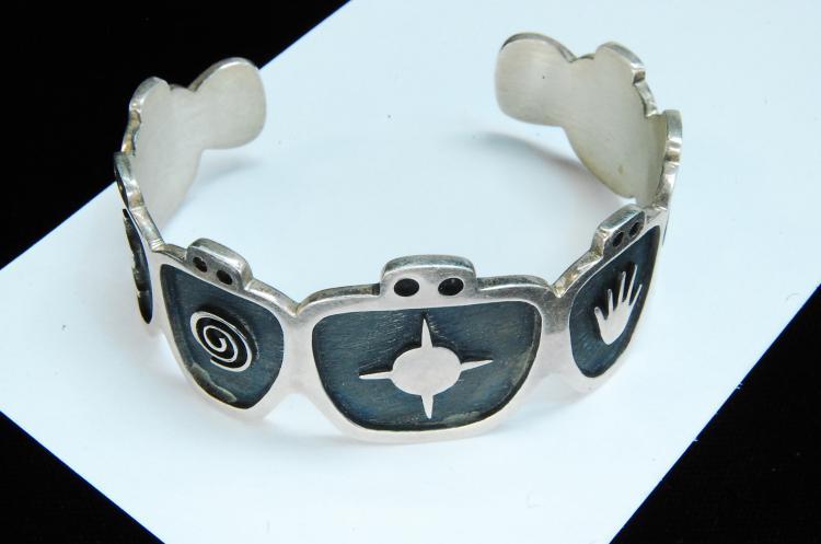 Vintage 30g Sterling Hopi Symbol Cuff Bracelet