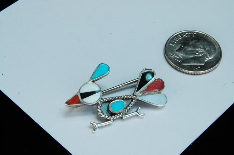 Sterling Zuni Stone Inlaid Roadrunner Brooch