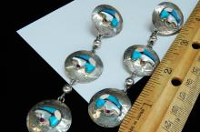 Lot 152: 14g Sterling Bear Inlaid Stamped Dangle Earrings