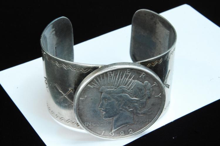 Lot 153: 76g Sterling Silver Dollar Stamped Cuff Bracelet