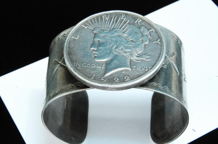 76g Sterling Silver Dollar Stamped Cuff Bracelet