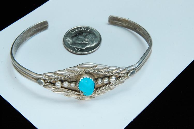 Lot 154: 10g Sterling Turquoise Navajo Stamped Bracelet