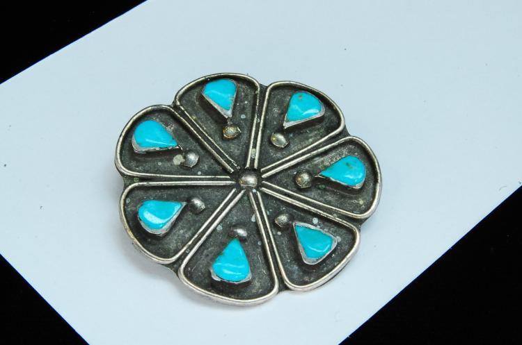 Vintage 11g Sterling Turquoise Navajo Brooch
