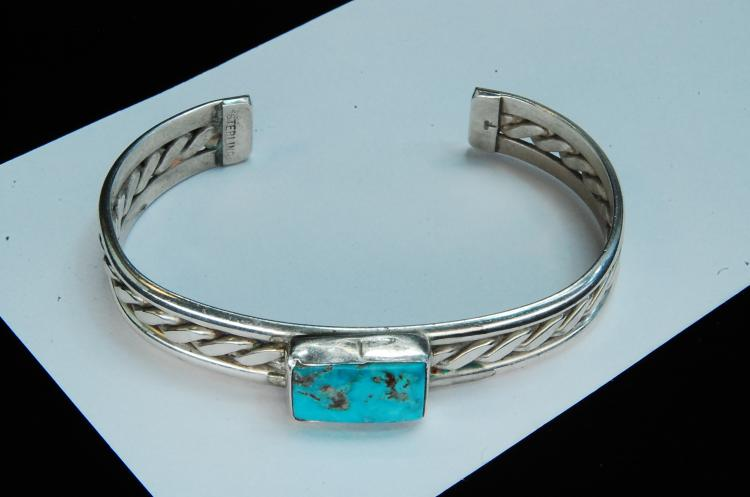 Lot 156: 24g Sterling Turquoise Navajo Twisted Bracelet
