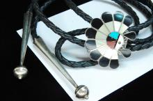 Lot 157: Vintage Sterling Zuni Inlaid Sun Face Bolo Tie
