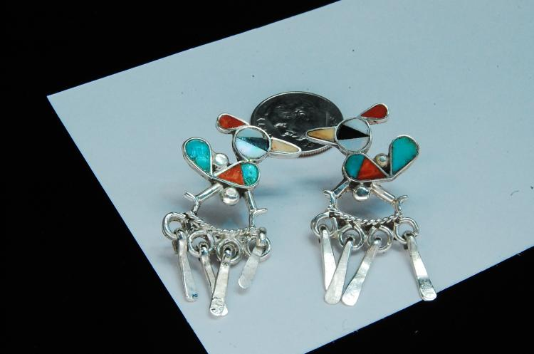 6g Sterling Zuni Inlaid Roadrunner Post Earrings