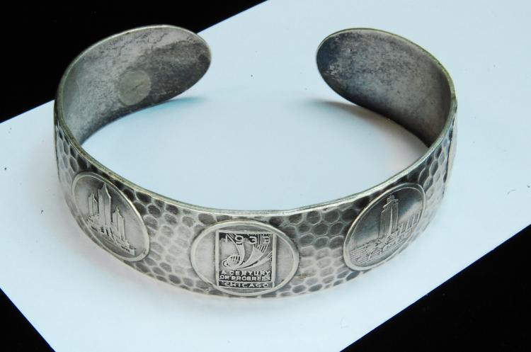 "1933 24g Sterling ""Chicago"" Progress Cuff Bracelet"