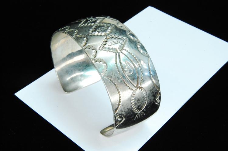Lot 162: 34g Sterling Signed M Stamped Navajo Cuff Bracelet