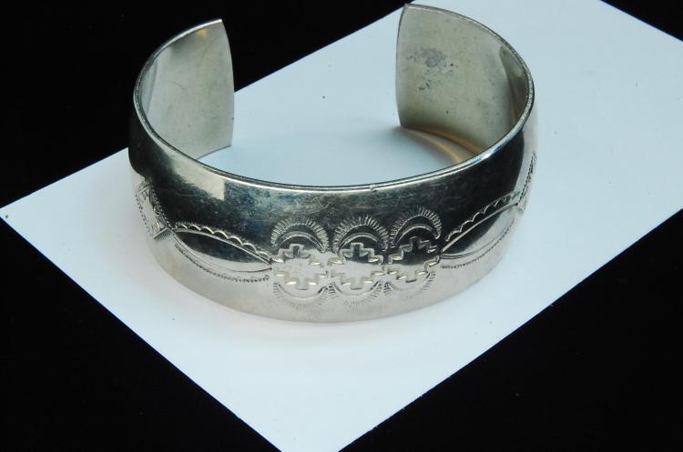 42g Sterling Signed N Stamped Cuff Bracelet