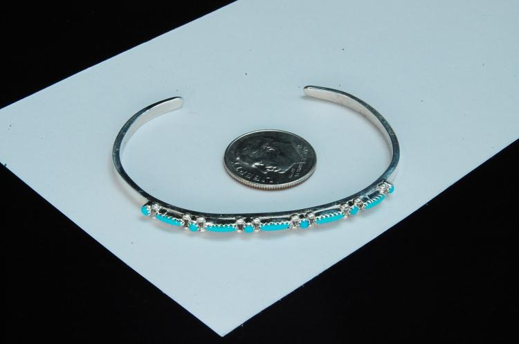 Lot 166: Sterling Turquoise Petit Point Zuni Cuff Bracelet