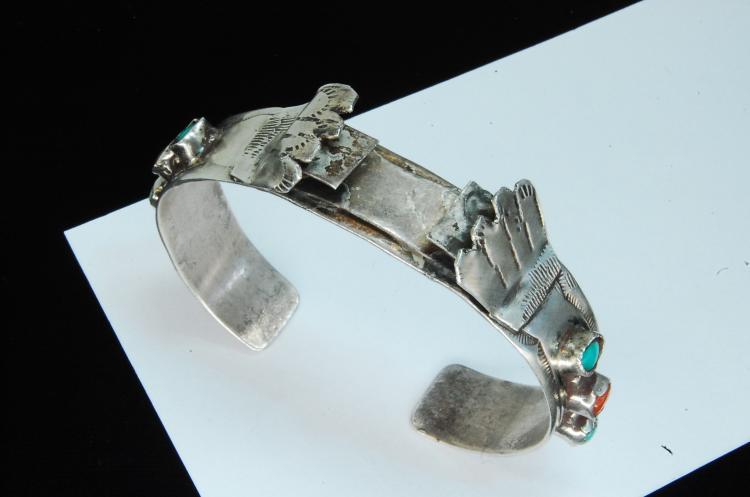 Lot 170: Vintage 25g Sterling Turquoise Cuff Watch Bracelet