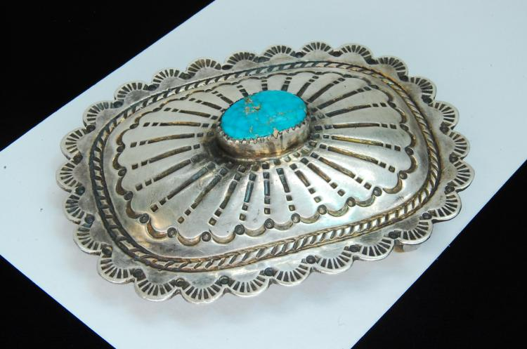 Lot 173: Vintage 41g Sterling Turquoise Signed S Buckle