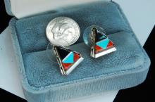 Lot 174: Sterling Silver Zuni Inlaid Post Earrings