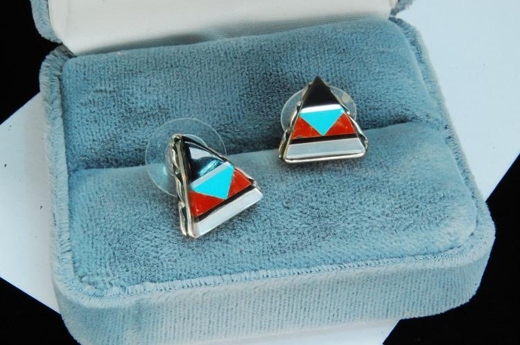 Sterling Silver Zuni Inlaid Post Earrings