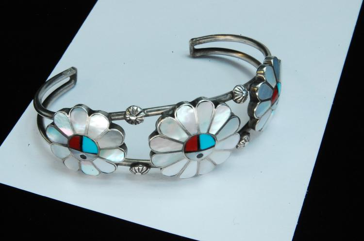 20g Sterling Zuni Inlaid Sun Face Cuff Bracelet