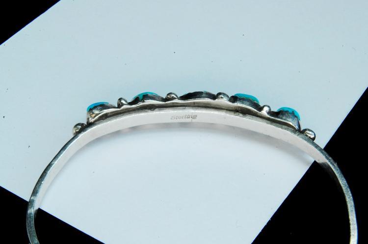 Lot 178: 12g Sterling Turquoise Navajo Cuff Bracelet