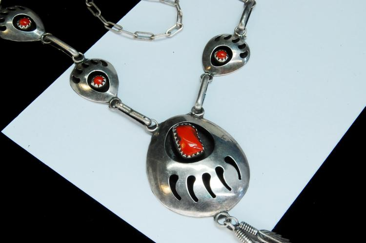 Lot 179: 13g Sterling Coral Bear Paw Shadowbox Necklace