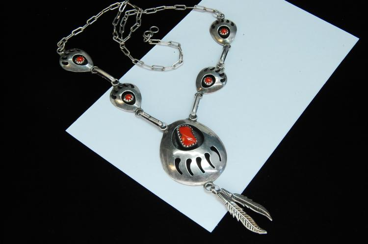 13g Sterling Coral Bear Paw Shadowbox Necklace