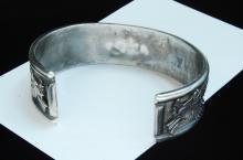 Lot 180: 58g Sterling Fire Agate Eagle Signed B Bracelet