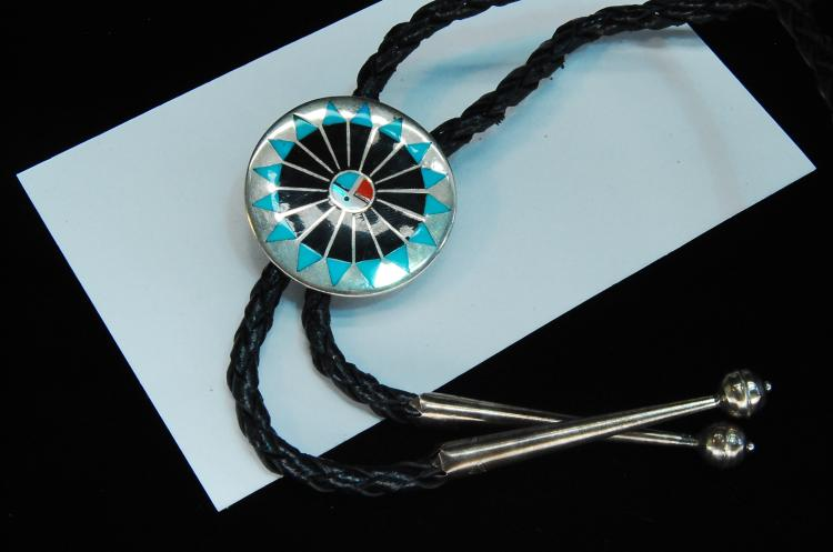 Lot 185: 15g Sterling Zuni Inlaid Sun Face Signed Bolo Tie