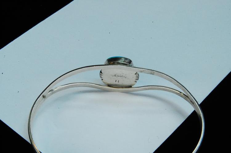 Lot 186: 9g Sterling Turquoise Signed B Navajo Bracelet