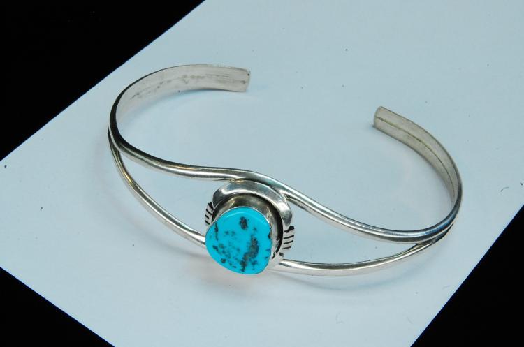 9g Sterling Turquoise Signed B Navajo Bracelet