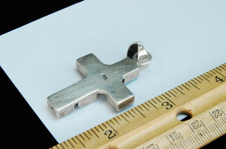 Lot 187: 15g Sterling Turquoise Inlaid Cross Pendant