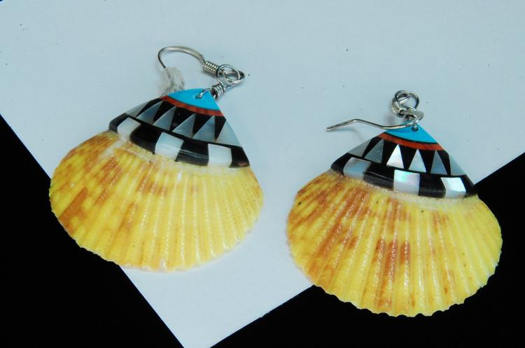Modern Zuni Style Inlaid Shell Dangle Earrings