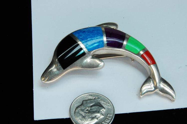 Lot 189: 16g Sterling Multi-Stone Inlaid Dolphin Brooch