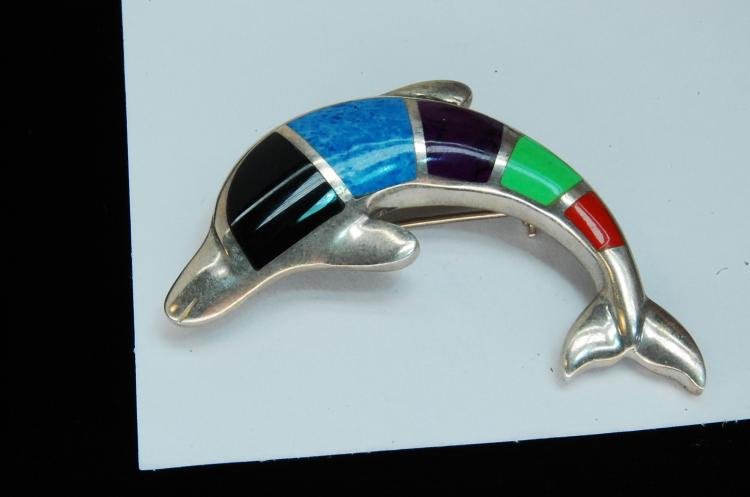 16g Sterling Multi-Stone Inlaid Dolphin Brooch
