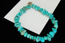 Lot 190: Natural Turquoise Polished Nugget Bracelet