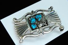Lot 193: 55g Sterling Turquoise Navajo Signed AJW Buckle