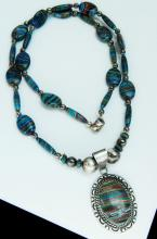 Lot 194: 60g Sterling Rainbow Stone Beaded Necklace