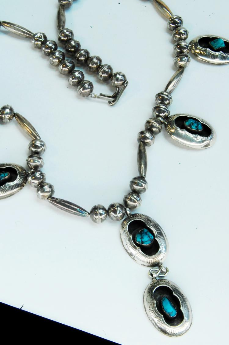 Lot 196: 41g Sterling Turquoise Shadowbox Bead Necklace