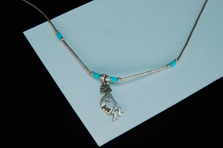 Sterling Silver Turquoise Bead Kokopelli Necklace