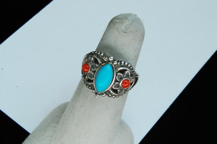 Sterling Turquoise Coral Ladies Ring Size 5.5