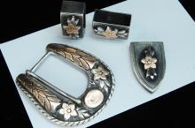 Lot 75: Vintage 65g Sterling Mexico Buckle Loops Tip Set