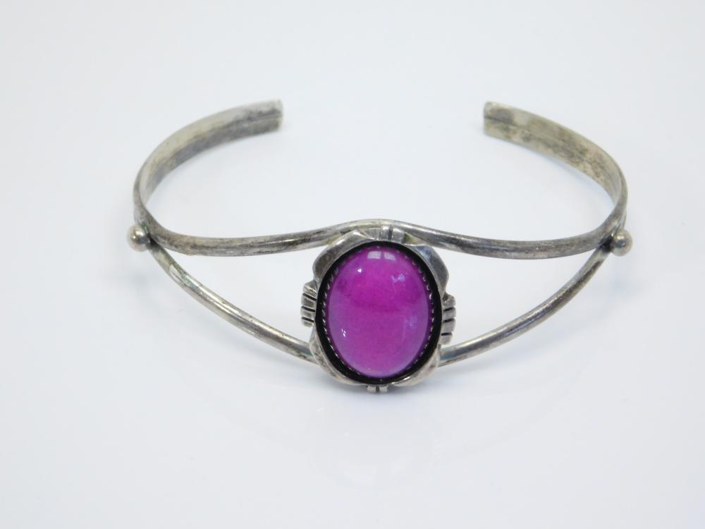 Vintage Native American Hopi Shadowbox Purple Jadeite Cuff Bracelet 12.9G