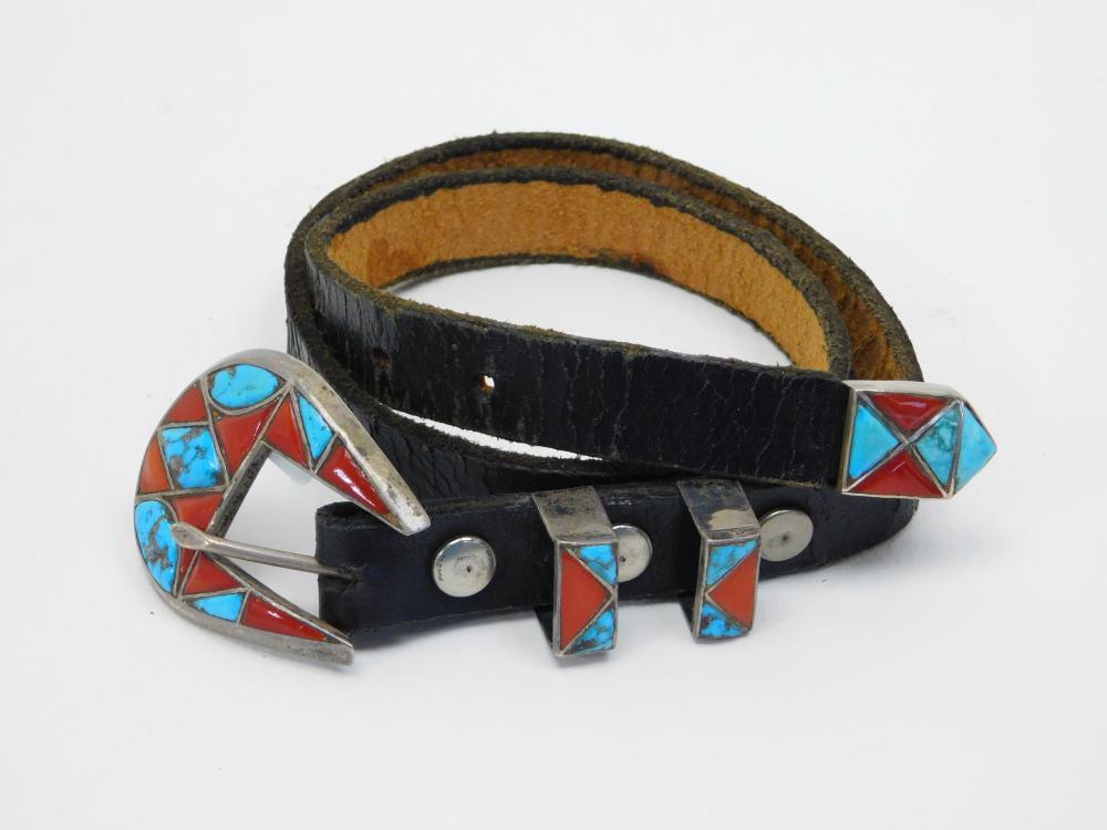 Vintage Native American Rxxx Sterling Turquoise Coral Belt Buckle Set 77G