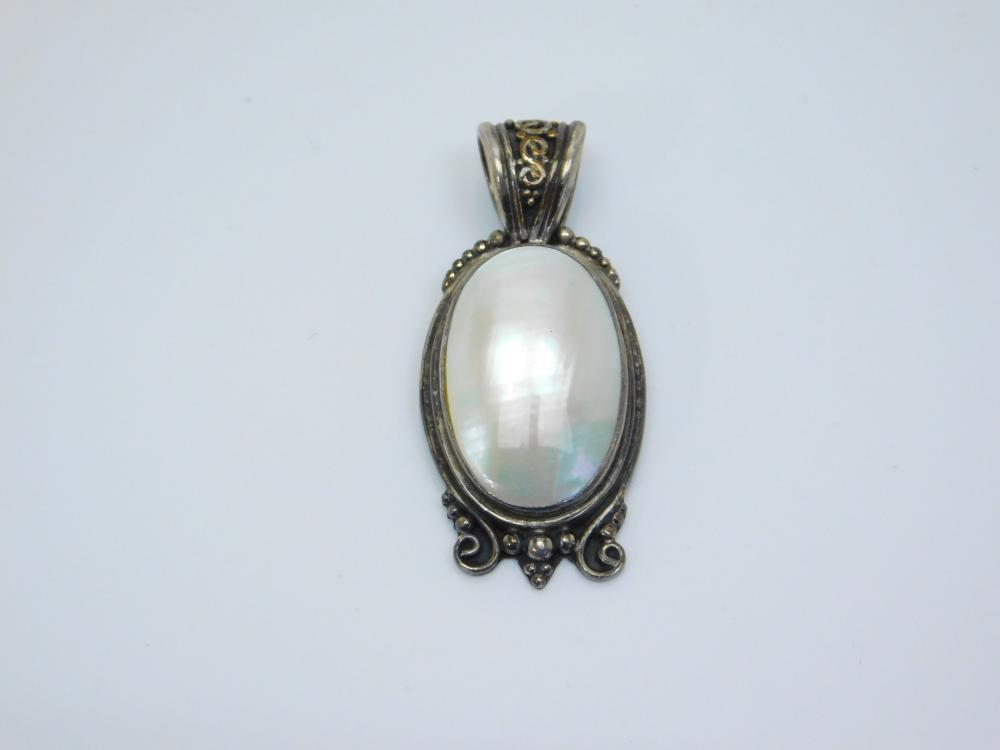 Sterling Silver Mother Of Pearl Mop Pendant 13.4G