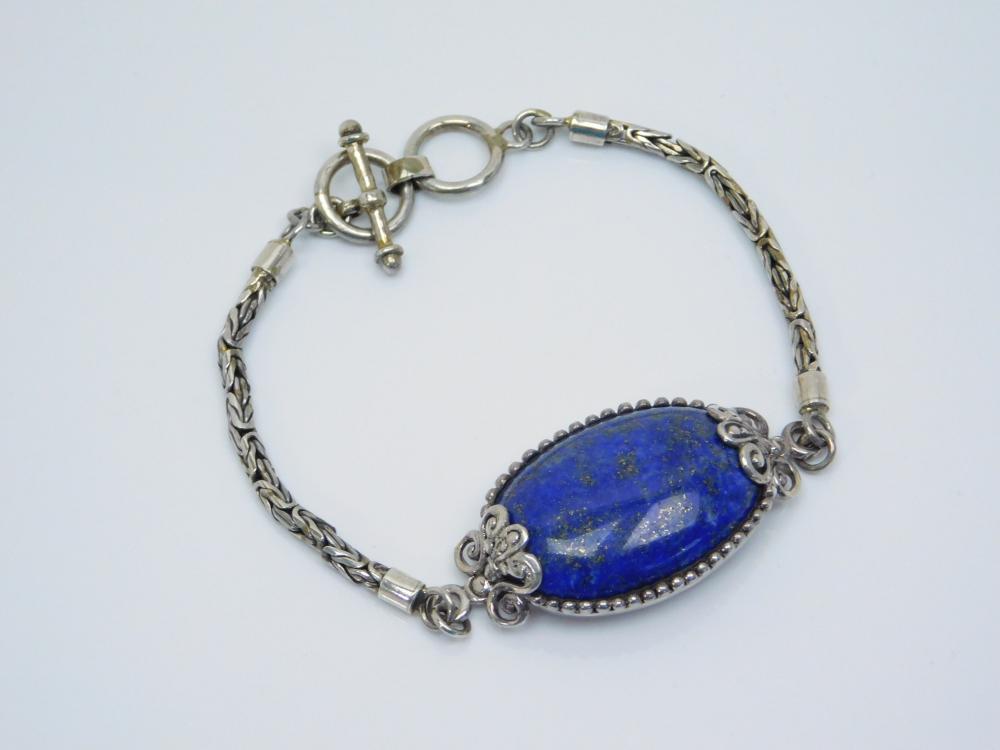 Sterling Silver Lapis Byzantine Link Fashion Bracelet 22G